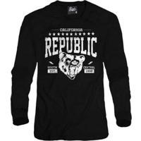 Casaco Moletom Skull Clothing Cali Republic Masculino - Masculino-Preto