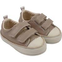 Tênis Infantil Couro Catz Calçados Noody Velcro - Unissex-Marrom Claro