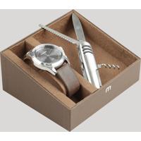 Kit De Relógio Analógico Mondaine Masculino + Canivete - 76656G0Mvnh1Ka Prateado - Único