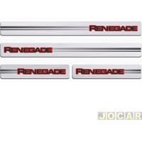 Aplique Da Soleira - Sport Inox - Renegade 2014 Em Diante 4 Portas - Resina Aço Escovado - Autoadesivo - Jogo - 50936
