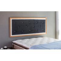 Painel Cabeceira Para Cama Casal Box Tecido Suede Preto E Madeira Cor Jatobá - 150X62,7X3 Cm