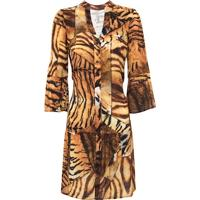 Vestido Curto Manga 7/8 Estampa Animal Print Tigre Canellado