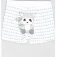 Short Infantil Guaxinim Estampado Geométrico Em Algodão + Sustentável Off White