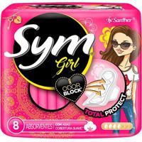 Absorvente Sym Girl Total Protect Cobertura Suave Com Abas 8 Unidades