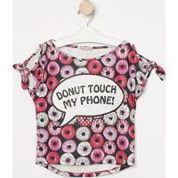 """Blusa """"Donut Touch My Phone"""" - Preta & Rosagabriela Aquarela"""