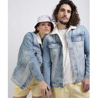 Jaqueta Jeans Unissex Com Pelo Azul Claro