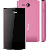 "Smartphone Philco Phone 350 Rosa - Gps - Dual Chip - 3Mp - Tela De 3.5"" - Android 4.0"