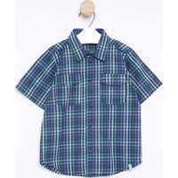 Camisa Xadrez Com Bolsos- Azul Marinho & Verde ÁGuagreen
