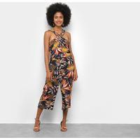 Macacão Lily Fashion Frente Única Tropical Feminino - Feminino-Preto
