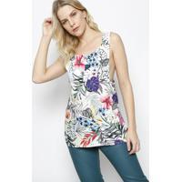 Blusa Floral Com Transpasse - Off White & Verde - Ahaha