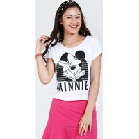 Blusa Juvenil Cropped Estampa Minnie Disney
