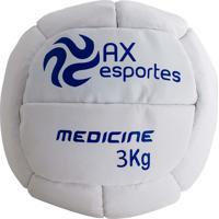 Bola Medicine Ball 3 Kg Ax Esportes Costurada - 530093 Branco
