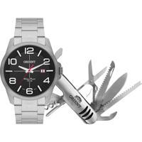 Kit De Relógio Analógico Orient Masculino + Canivete - Mbss1289 Kc87P2Sx Prateado