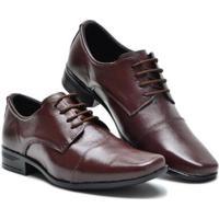 Sapato Social Couro Liso Bico Quadrado Cadarço Masculino - Masculino-Marrom Escuro