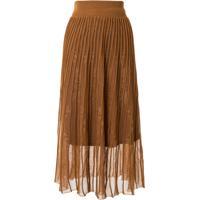 Mame Kurogouchi Layered Style Ribbed Skirt - Marrom