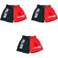 Kit Progne Esportes 3 Shorts Calção Para Muay Thai Progne Vermelho - Kanui