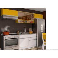 Cozinha Modulada Completa 4 Módulos 100% Mdf Branco/Gold - Glamy