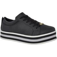 Tênis Sapatênis Flatform Corda Sola Alta Casual Cr Shoes Feminino - Feminino-Preto+Cinza