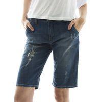 Bermuda Jeans Com Barra Dobrada Destroyed Aha