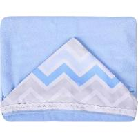 Toalha Com Capuz Estampa Chevron Masculina - Masculino-Azul