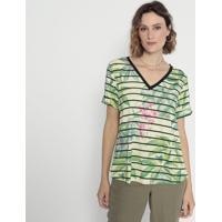 Blusa Listrada Floral- Verde & Preta- Cotton Colors Cotton Colors Extra