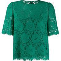Dolce & Gabbana Blusa Com Renda - Verde