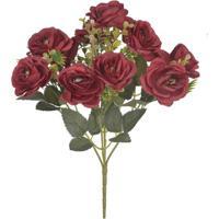 Bouquet De Rosa X10 Florarte 28Cm Vermelho Marsala
