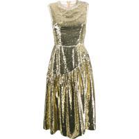 Simone Rocha Vestido Midi Com Paetês - Dourado