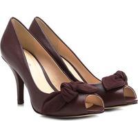 Peep Toe Couro Shoestock Salto Fino Laço - Feminino
