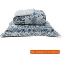Kit De Cobre Leito E Porta Travesseiro Queen Percal Azul