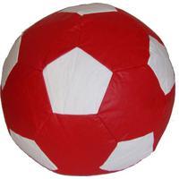 Puff Big Ball Futebol Corino Vermelho E Branco