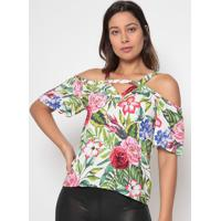 Blusa Floral Com Folhagens- Branca & Verde- Arsenalarsenal