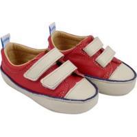 Tênis Infantil Couro Catz Calçados Noody Velcro - Unissex-Vermelho+Branco