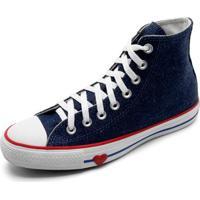 Tênis Cano Alto Converse Chuck Taylor All Star Jeans Coração Feminino - Feminino-Azul