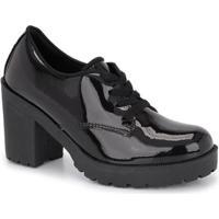 Oxford Cr Shoes Verniz Salto Médio Com Amarração - Feminino-Preto