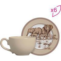 Conjunto De Xícaras De Chá Elefantes- Marrom Claro & Brascalla Cerâmica