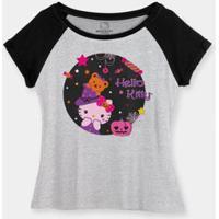 Camiseta Bandup! Raglan Hello Kitty Night Of Halloween - Feminino-Cinza+Preto
