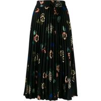 Red Valentino Floral-Print Pleated Skirt - Preto