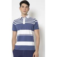 Polo Listrada- Azul & Branca- Pacific Bluepacific Blue