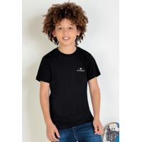Camiseta Infantil Preta Estampa Costas Nicoboco