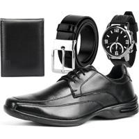 Sapato Social Linha Conforto Rebento Preto Com Relógio Cinto E Carteira