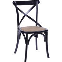 Cadeira Cross- Preta & Bege- 89X55X49Cm- Or Desior Design