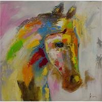 Quadro Pintura Cavalo Perfil Direito Colorido Fullway