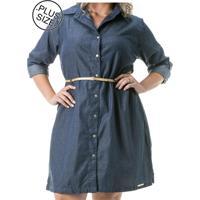 Vestido Jeans Plus Size - Confidencial Extra Chemisier Manga Longa Azul
