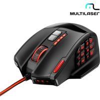 Mouse Laser Gamer Profissional Multilaser Warrior Com 18 Botões, 12 Macros, 1 Botão Rapid Fire, Resolução De 4000Dpi E Pesos Removíveis - Mo206
