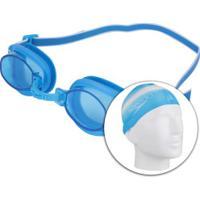 Kit De Natação Speedo Swim 3.0 Com Óculos + Touca + Protetor De Ouvido - Adulto - Azul