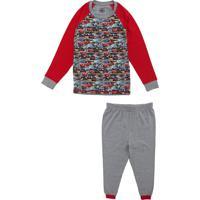 Pijama Lupo Longo Infantil Carros Pixar Cinza/Vermelho