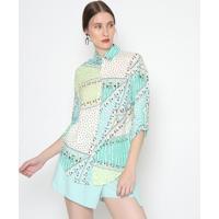 Camisa Abstrata- Off White & Verde Claro- Ahaaha