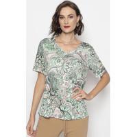 Blusa Com Arabescos & Floral- Verde & Rosa- Cotton Ccotton Colors Extra