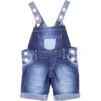 Macacão Jeans Jardineira Infantil Para Menino - Azul